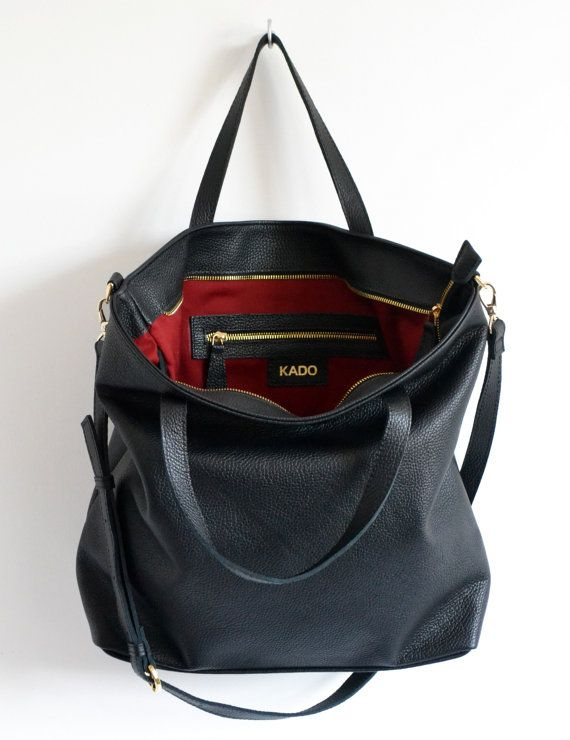 LONDON  Black LEATHER TOTE Bag Oversize Black Top Zip by KadoBag