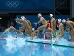 The Montenegro team take to the water prior to competing in the Men's Bronze Medal Match