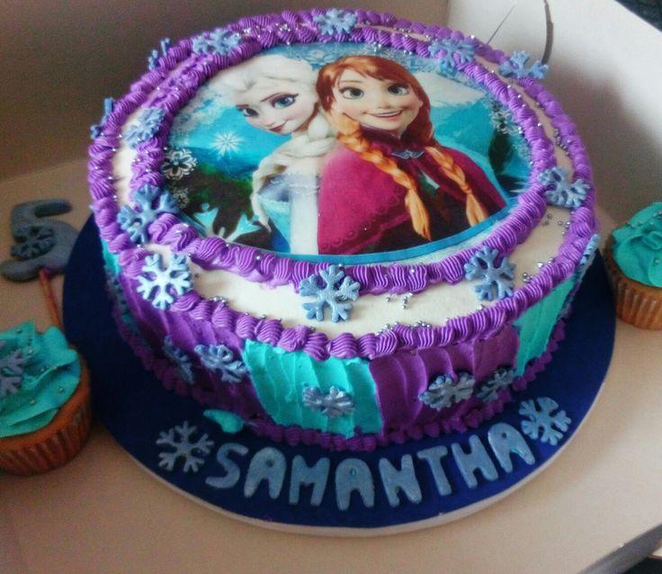 Torta Frozen, Ana y Elsa con crema de mantequilla e imagen comestible!
