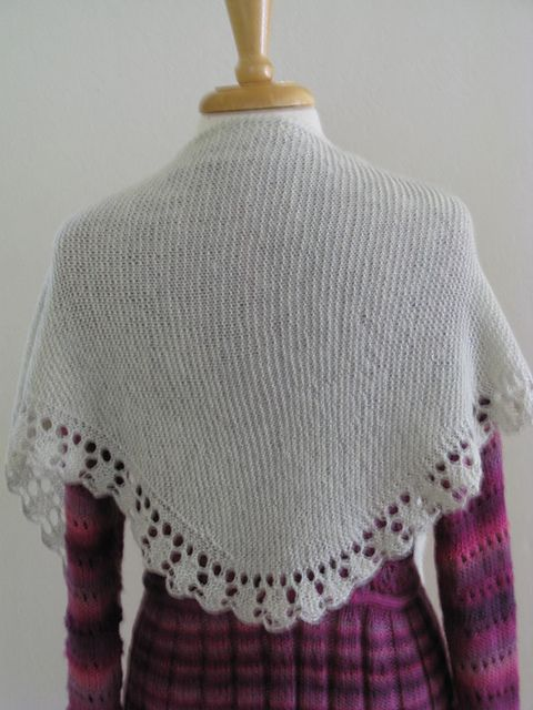 Ravelry: Sparkling Bridal Shawlette pattern by Nazanin S. Fard free 4 ply, Errata: There is an extra k1 on row 7. It should read as follows: Row 7: K7, (k1, p1) in double yarn over, k1, (k1, p1) in double yarn over, k2. (14 sts)