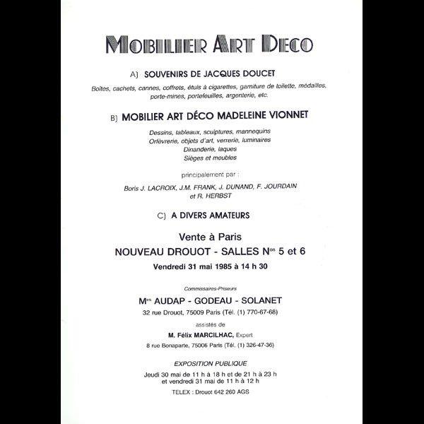Madeleine Vionnet, souvenirs de Jacques Doucet (1985) - Vionnet - Couturiers