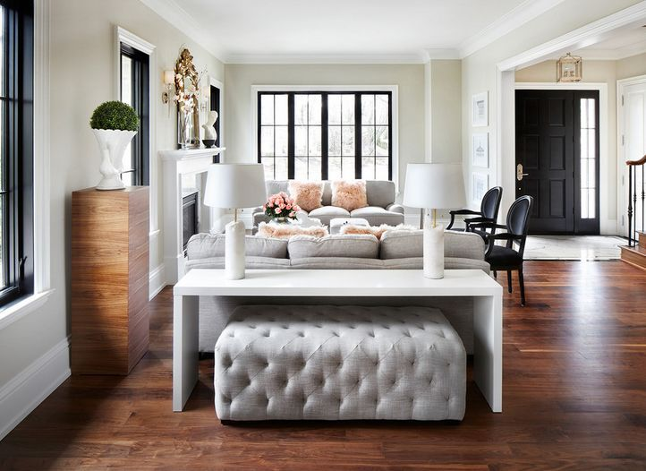 Low table behind the sofa can be paried with an ottoman