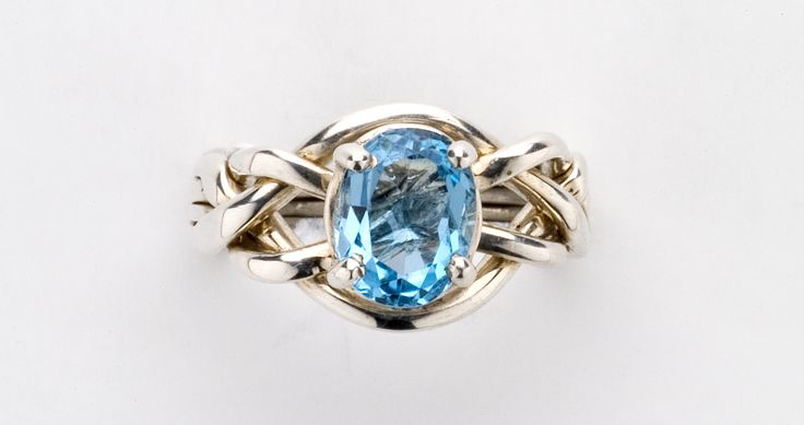 4BT Blue Topaz Ladies' Puzzle Ring - Gold, Silver or Platinum - Ships Free!