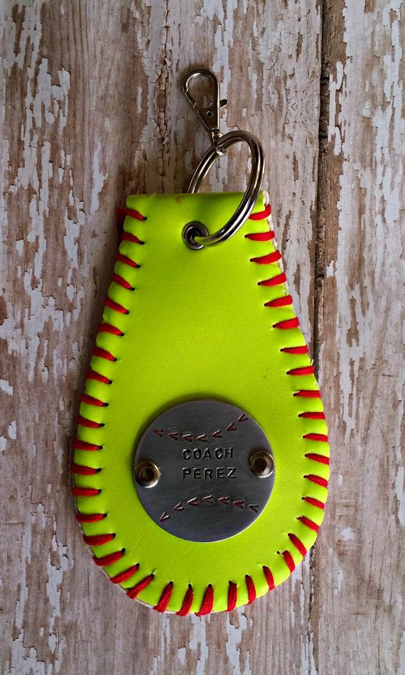 Personalized Hand Stamped Softball/Baseball Keychain for Coach or Player