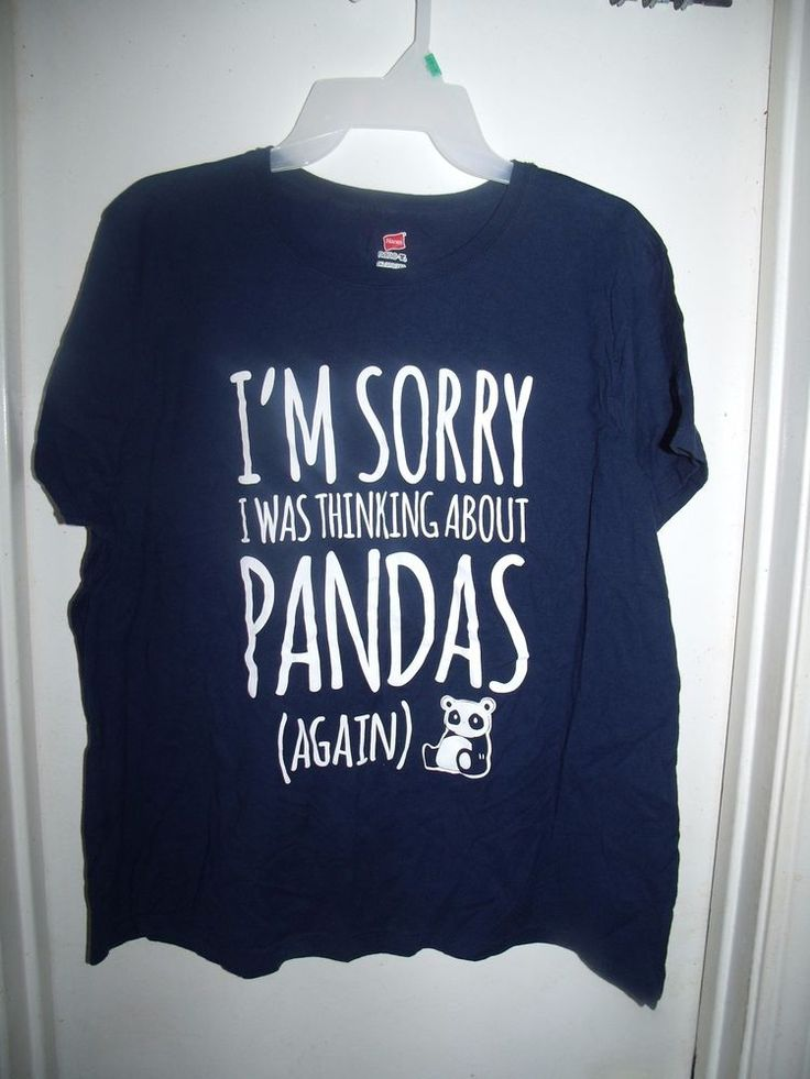 Hanes Nano-T Navy Blue I'm Sorry I Was Thinking About Pandas T-Shirt Size 2X #Hanes #GraphicTee