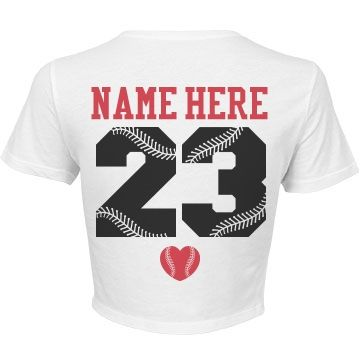 Showing some stomach in the stands! Personalize a baseball girlfriend crop top t-shirt jersey  to wear to all your boyfriend's games. Baseball wives can wear them as well! Change the back name and numbers.