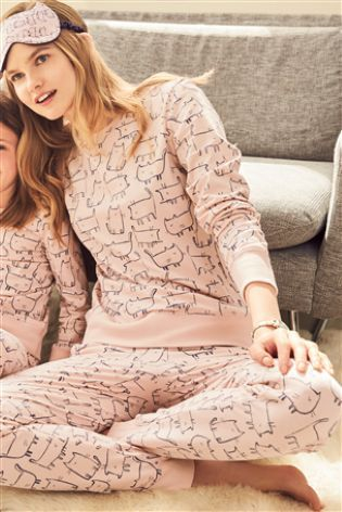 Pink Cat Print Cotton Print Pyjamas