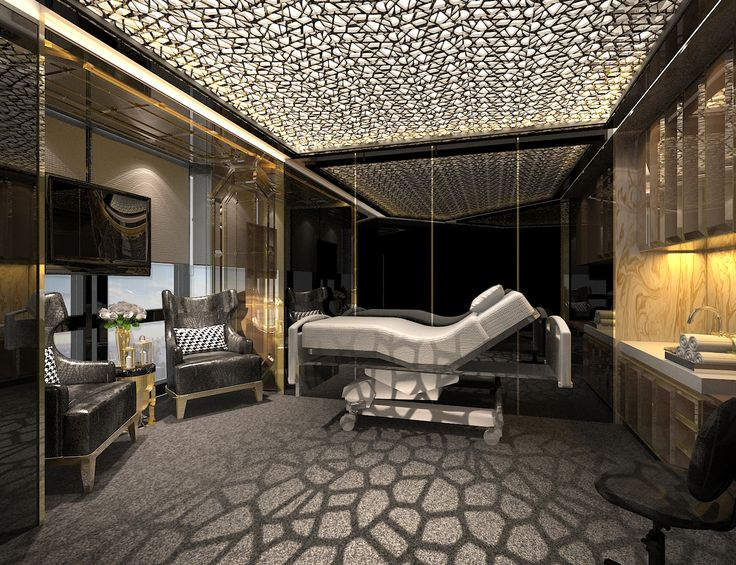Surgery clinic#modern contemporary#classy#Gold black theme#interiordesign#Vipexamroom#materialgirl