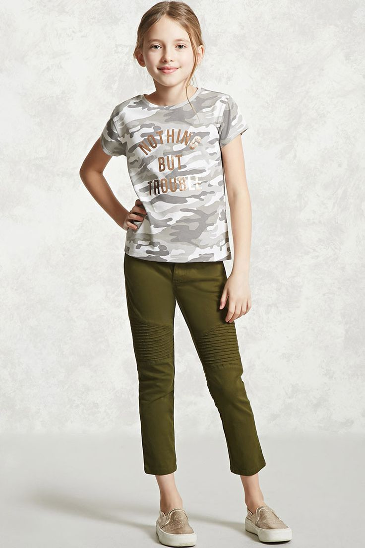 "Forever 21 Girls - A knit tee featuring a metallic ""Nothing But Trouble"" graphic on the front, an allover camo print, round neckline, and short sleeves."