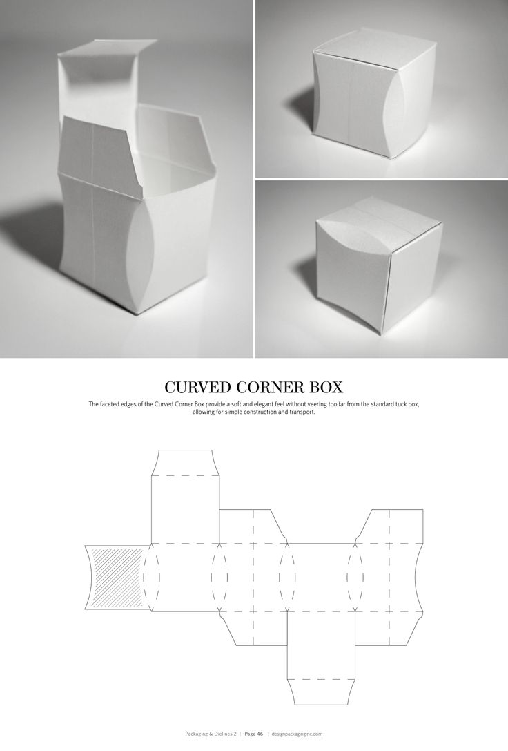 Curved Corner Box – structural packaging design dielines