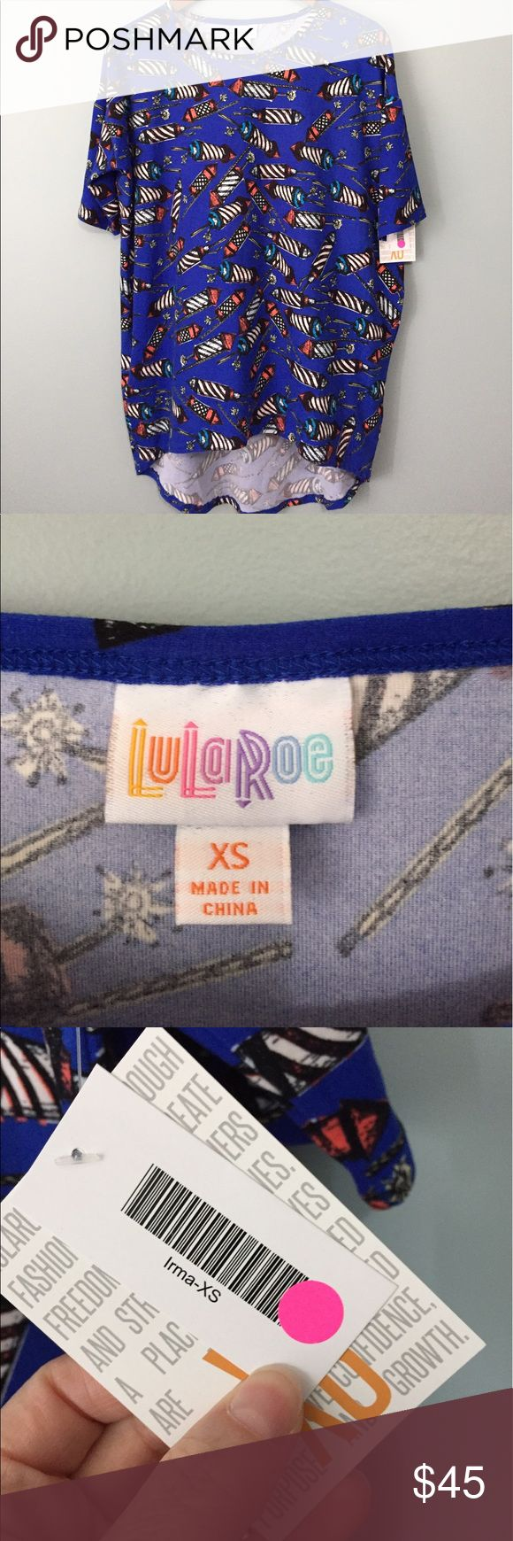 LuLaRoe Americana Irma XS This is from last years Americana capsule line & is leggings material. I typically wear size 14/16 tops & XS Irma but this is too big.  Happy to provide measurements. Ships same or next day. LuLaRoe Tops Tees - Short Sleeve