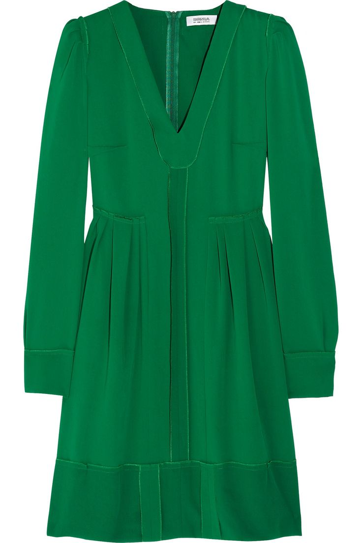 sonia by sonia rykiel: Kelly Green Dresses, Green Crepes, Crepes Dresses, Emeralds Green, Rykiel Pl Crepes, Perfect Dresses, Pleated Crepes, Work Dresses, Long Sleeve Dresses