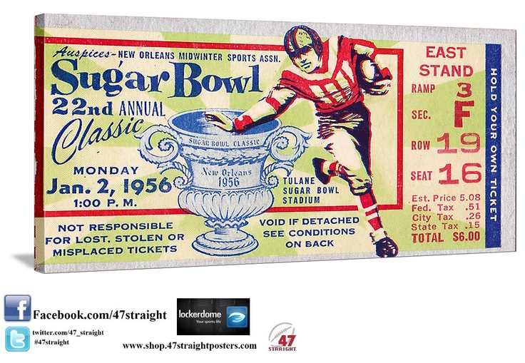 College football gifts made from authentic college football tickets! #47straight Best Father's Day football gifts! 1956 Sugar Bowl football ticket art on canvas made from an authentic 1956 Sugar Bowl ticket. Georgia Tech 7. Pitt 0. Choose from over 2,000 vintage sports tickets from 47 STRAIGHT.™  http://47straight.lockerdome.com/ Join our Lockerdome network!