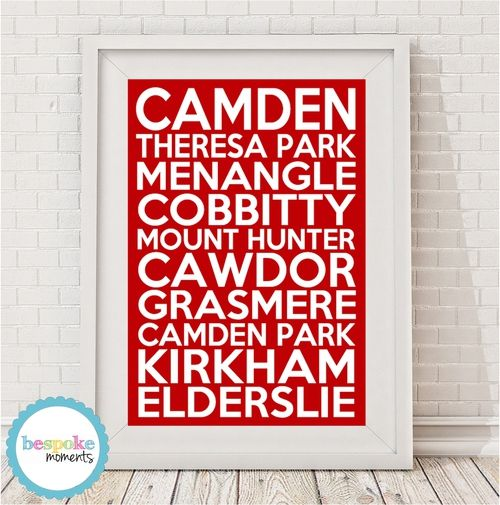 Camden Locale Bus Scroll Print by Bespoke Moments. Worldwide Shipping Available.