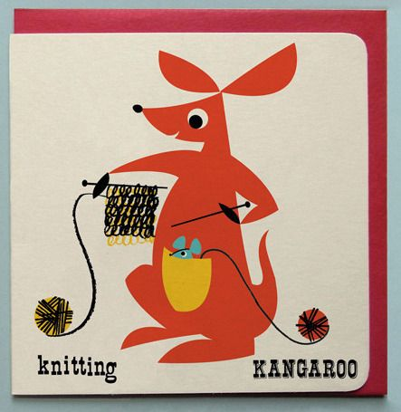 Knitting Kangaroo Greeting card £2.50 by Ketchup on Everything