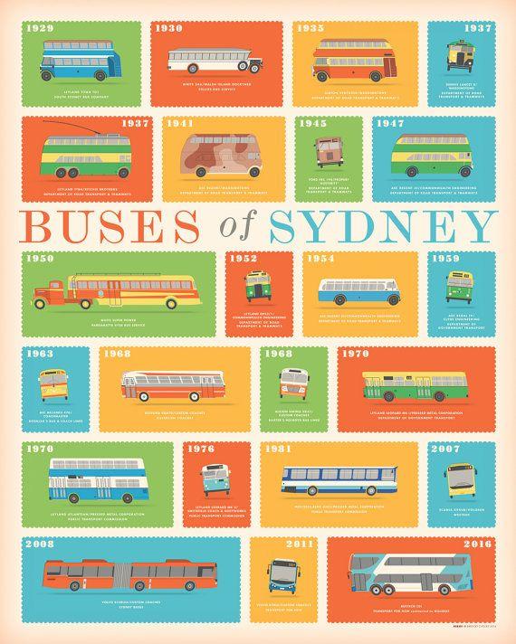 Buses of Sydney retro illustrated print by BarockyChocky on Etsy