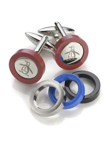 ORIGINAL PENGUIN Retro Mod Interchangeable Rim Logo Cufflinks