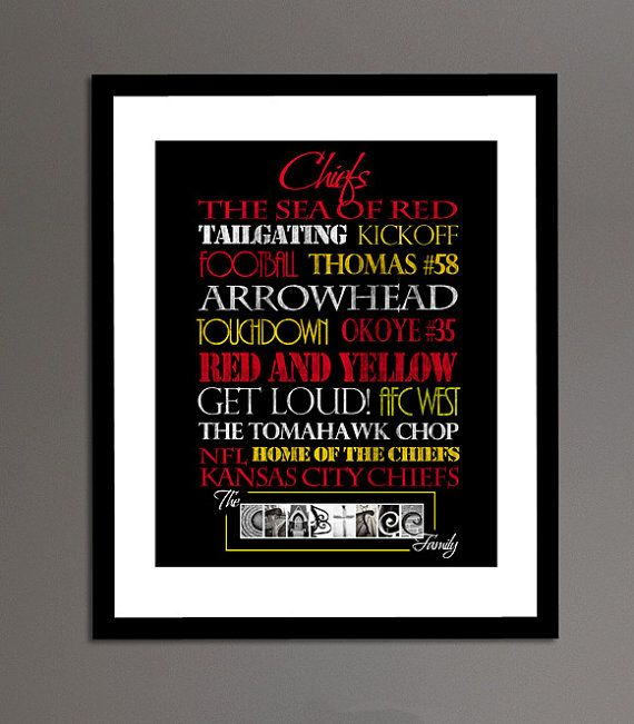 Kansas City Chiefs Print by SportingStandouts on Etsy, $40.00