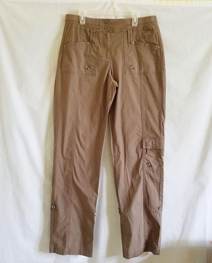 CHICOS Cargo Pants Sz 0 S 4 Brown Elastic Waist Roll Tab Leg Cotton Spandex #Chicos #Cargo