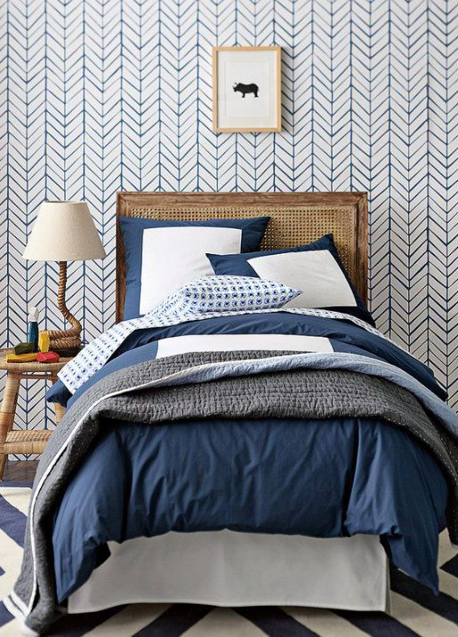 Chevron wallpaper on etsy. Rooms To Love: Modern Farmhouse Bedroom