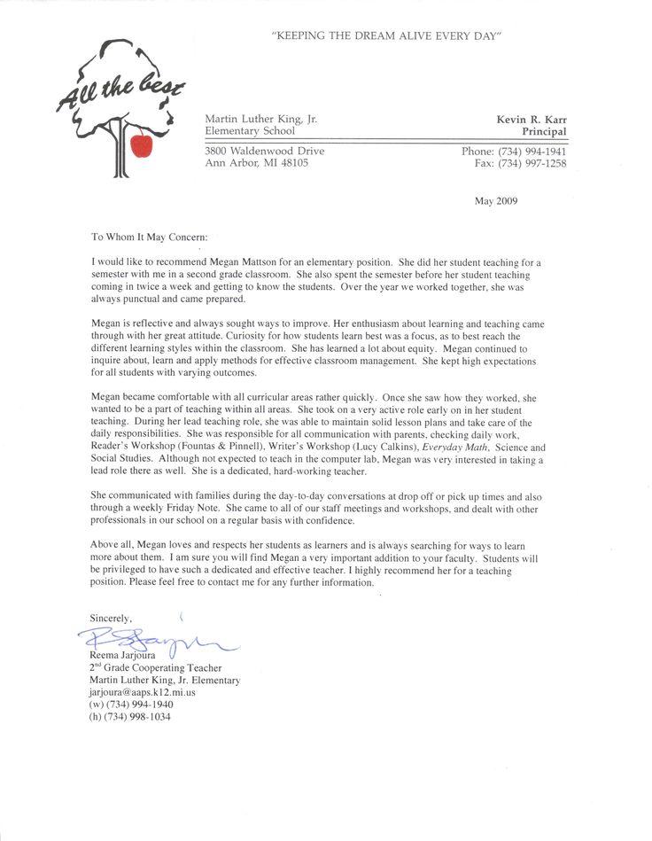 recommendation letter for student teacher from cooperating teacher