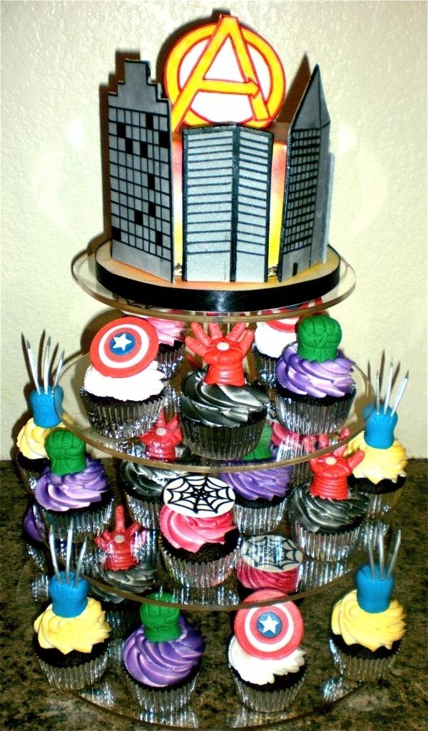 Avenger Cupcake tower