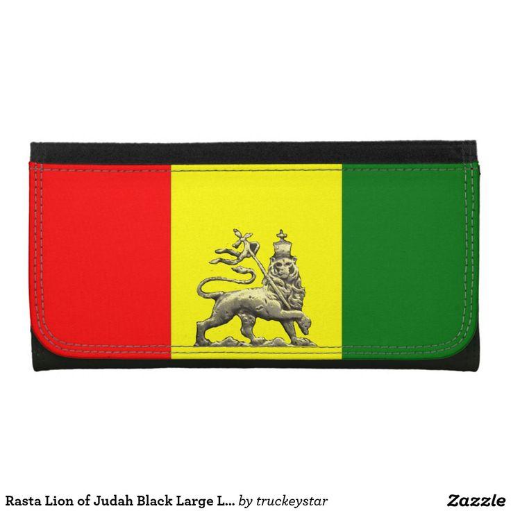 Rasta Lion of Judah Black Large Leather Wallet