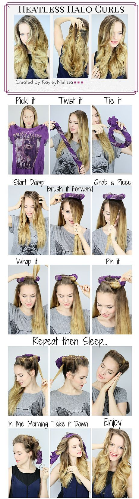 Here's a new hair curly tip from Kayley Melissa. Beauty7 tried before, and it works and looks natural style. No heat iron, just need a T-shirt. Would you like to try tonight? Any cute easy style way, please @beauty7 we will post your way to friends allover world♥