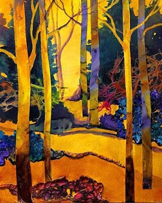 "Carol Nelson - Mixed Media Abstracted Trees Collage, ""Sunny Day 3"""