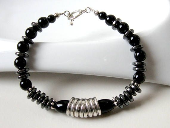 Unisex Black Hematite and Glass Bead Bracelet Art Deco Style
