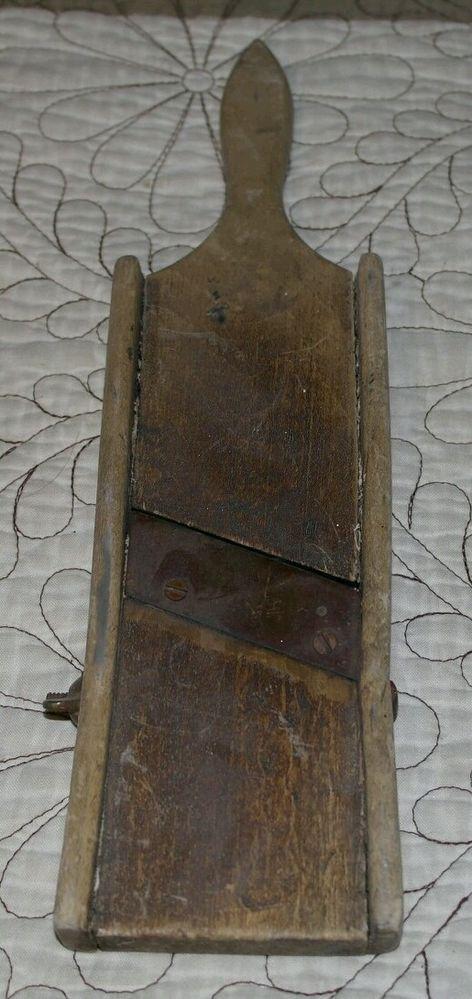 Very Old Worn Mandoline Slicer with Metal Slanted Blade Rustic Primitive Kitchen