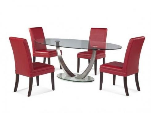 Dimensions: 86W x 44D x 30H  Description: Stunning in just about any setting. Dual aspect in design. Chrome and glass double pedestal table. Table available only as shown.
