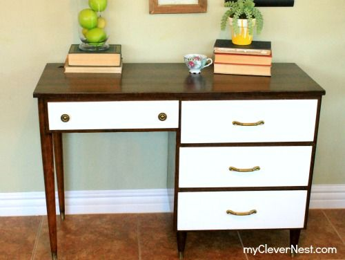 Mid century modern desk given new life!