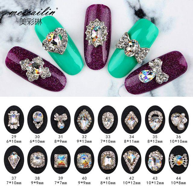 Meicailin 5 шт./лот новый дизайн ногтей 3D Подвески Стразы Маникюр Аксессуары Серебряный сплав Материал ногтей украшения
