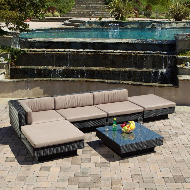 Have to have it. Santorini Outdoor Black All-Weather Wicker Sofa Sectional Set - $1572.06 @hayneedle