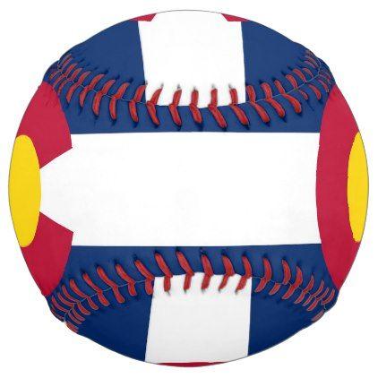 Patriotic Softball with flag of Colorado USA - kids kid child gift idea diy personalize design