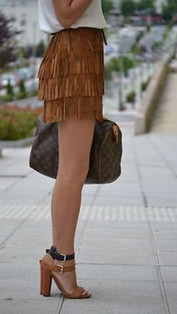 zara brown leather suede fringe skirt size small s