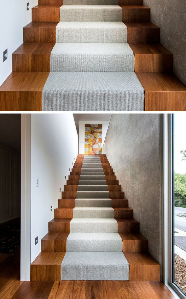 18 Examples Of Stair Details To Inspire You // These wooden stairs are interrupted by a center section with light gray carpet.