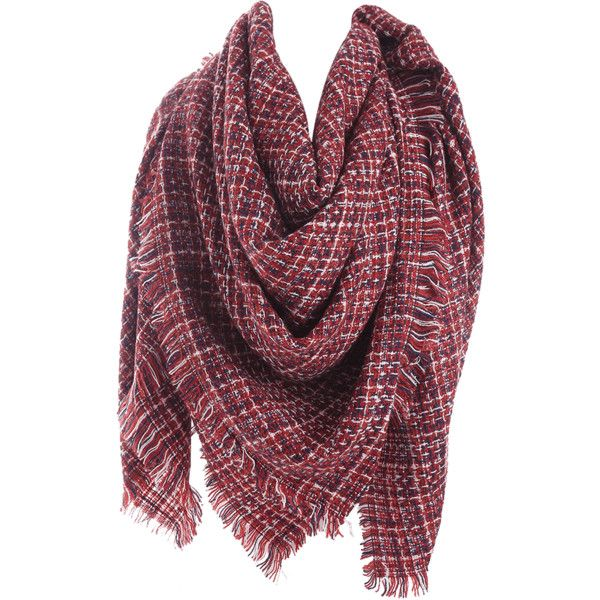 Wine Red Small Plaid Blanket Scarf with Fringed ($11) ❤ liked on Polyvore featuring accessories, scarves, red scarves, red plaid shawl, tartan scarves, red plaid scarves and fringe scarves