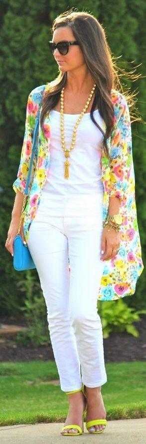 Multicolor Chiffon Floral Kimono,White Top, White Skinny Pants
