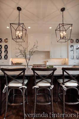 White kitchen, pendant lighting over island.