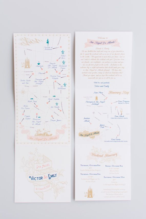 Custom Wedding Map With Itinerary Invitation Mexico Tri Fold Choose Your City Location