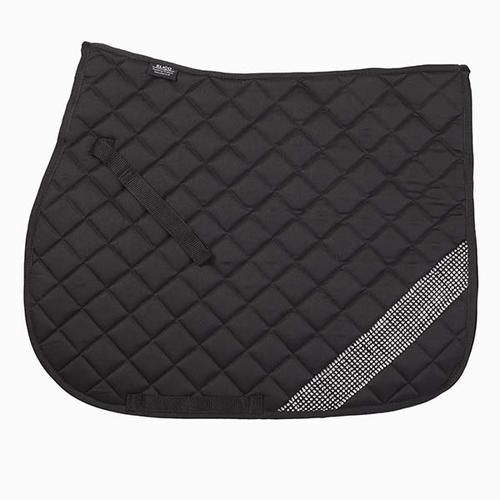 Elico Coniston Saddlecloth with Diamantes ONLY £19.50!!  This gorgeous Elico Coniston Saddlecloth/numnah is a great addition to your horses wardrobe! The numnah is made from cotton with diamond quilting and an attractive band of diamantes across the corner adds that extra sparkle!  Colour: Black with clear diamantes