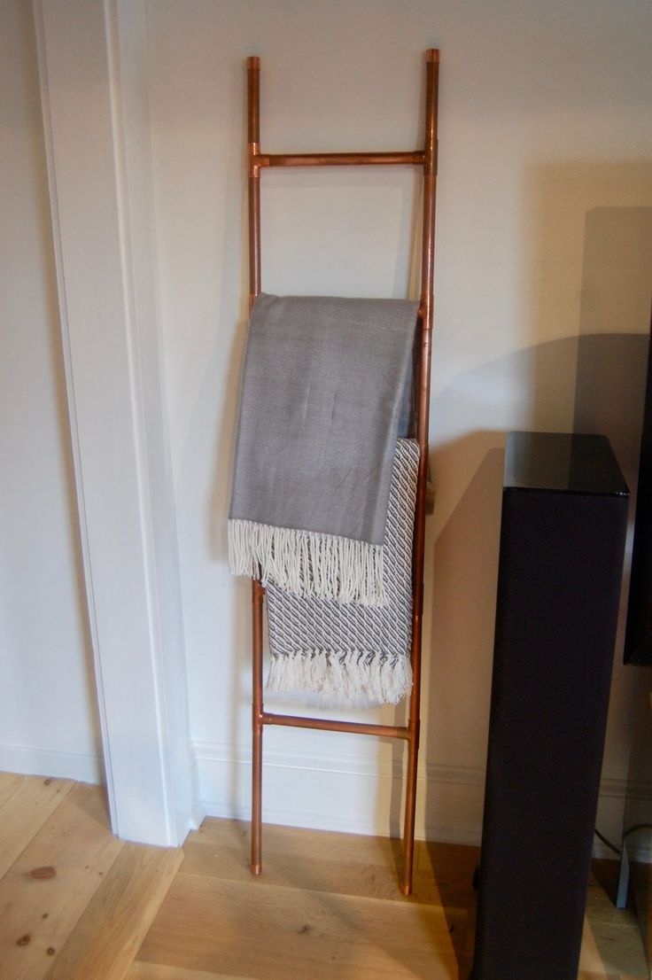 DIY copper pipe ladder project for hanging blankets