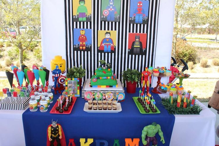 Amazing Lego superhero birthday party! See more party ideas at CatchMyParty.com!