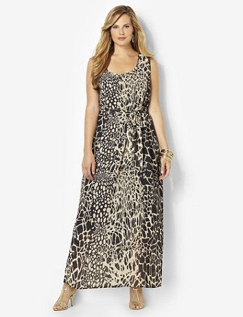 A rich mix of animal prints on a silky chiffon fabric gives this maxi dress exotic style. Removable tied belt defines your waist for a beautiful silhouette. Bust darts provide a better fit at the armholes. Sleeveless style is complete with a scoop neckline. Polyester lining. Catherines dresses are expertly designed for the plus size woman. catherines.com