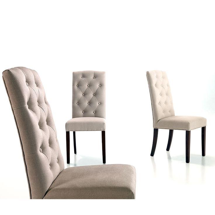 Venta online de sillas silla capitone tapizada en lino for Sillas capitone comedor