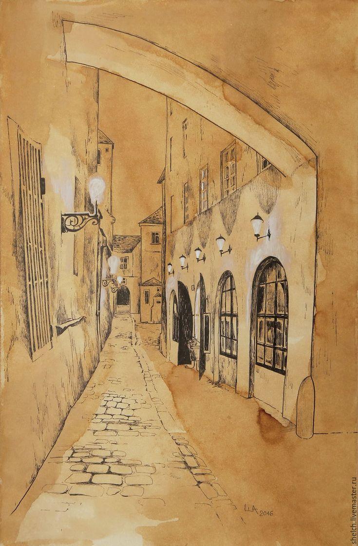Купить картина Старая Прага. Улочки (графика, старый город) - город, старый город