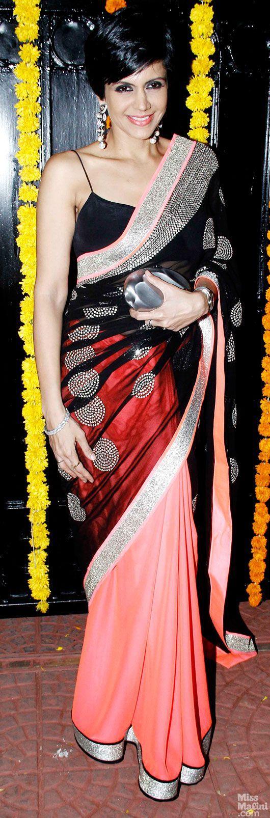 at Ekta Kapoor's 2013 Diwali Party Mandira Bedi looks beautiful in a multi color Saree