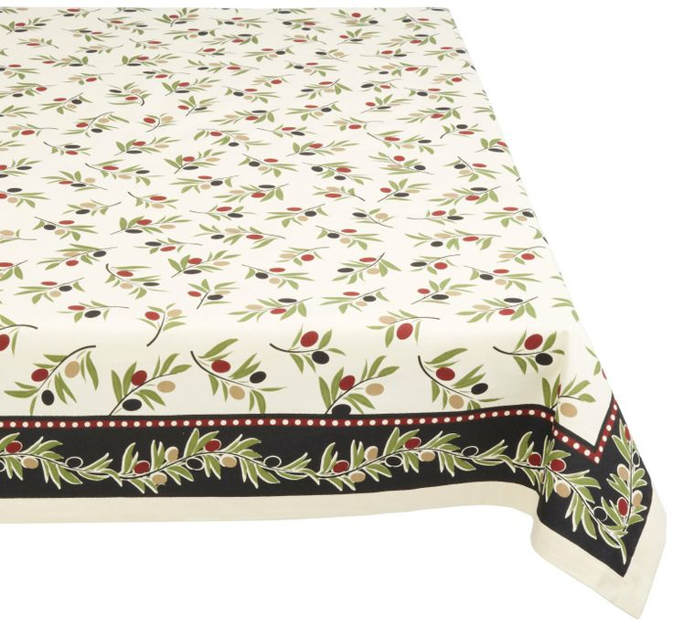Amazon.com   DII 100% Cotton, Machine Washable Tablecloth Olivita Print  52x52,